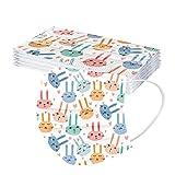 Sonnena 10/50PCS Niños Protección Desechable Transpirables Impresión Clásica,Infantil Tres Capas Tie-Dye con Elástico para Los Oídos