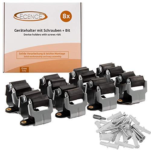 ECENCE 8X Gerätehalter, Besenhalter + Torx Schrauben + Torx Bit, Gerätehalterung für Besen, Spaten & Gartengeräte, Wandhalter Federstahl, Leichte Montage