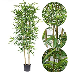 59 inch/4.9 ft Artificial Boxwood Topiary Tree Fake Bamboo Tree Artificial Silk Plant Faux Feaux Trees banboo Tropical Fake Plants Evergreen Artificial Tree Outdoor