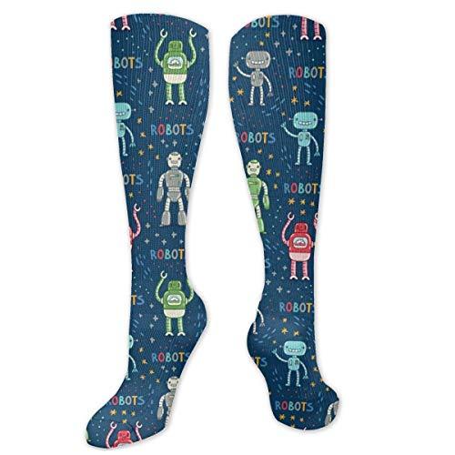 Inner-shop Cartoon Robots Blue Fashion Bequeme und weiche Kompressionsstrümpfe für Männer und Frauen Advanced Moisture Wicking Crew Socken für Working Family Sports Dress oder Cosplay, Socken