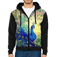 ドラゴン Colorful Peacock Painting カジュアル Mens フルジップジャケット パーカー トレーナー プルオーバーシャツ with ポケット