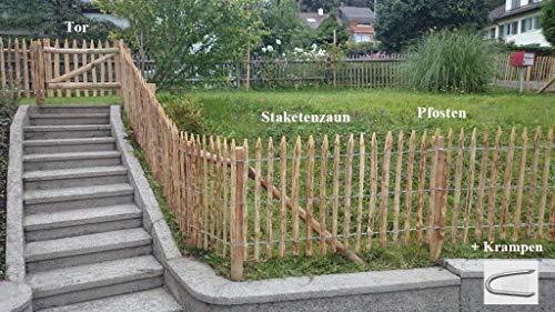 Premium Staketenzaun Komplettset aus Kastanie Kastanienzaun Rollzaun Lattenzaun Holz-Zaun Lattenabstand 4-6 cm Zaunlänge 5 m Höhe 120 cm inkl. Pfosten, Tor H120xB100cm & Krampen