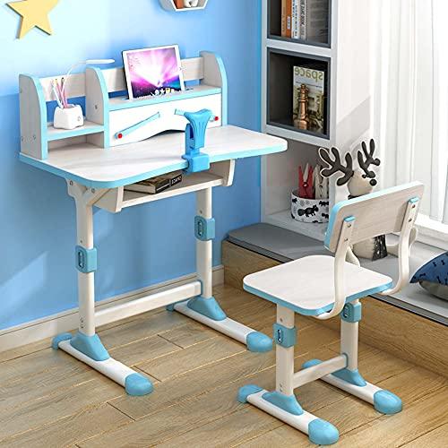 Juego de sillas de escritorio para niños, regulable en altura, escritorio para estudiantes con cajones de almacenamiento, con luz de protección ocular y ortesis, muy adecuado para escribir y leer