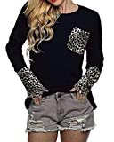 POGTMM Women's Long Sleeve Tops O-Neck Patchwork Casual Loose T-Shirts Blouse Tunic Tops with Thumb Holes