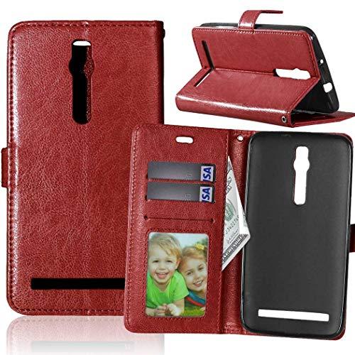 Wenlon Handy PU Hülle für Asus ZenFone 2 ZE550ML Deluxe ZE551ML 5.5inch, Hochwertige Business Kunstleder Flip Wallet Handyhülle mit Card Slot Funktion, Bracket Funktion - Brown