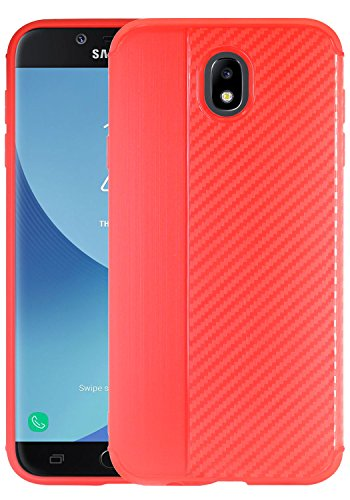 Galaxy J5 Pro (2017) Case, Linkertech Slim Air Armor Thin Fit Silicone Gel Soft TPU Bumper Durable Flex and Easy Grip Case for Samsung Galaxy J5 Pro International Version (Carbon Fiber - Red)