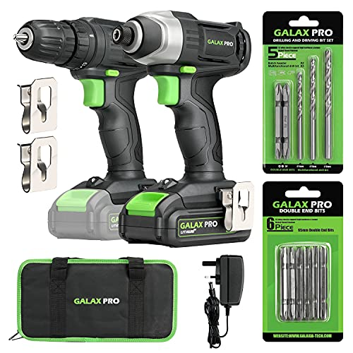 GALAX PRO 20V 2-speeds Drill Driver and Impact Driver Combo Kit, Cordless Drill Driver/Impact Driver, 1pcs 1.3Ah Lithium-Ion Batterie, Charger Kit, 11pcs Accessories and Tool Bag
