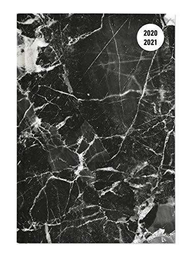 Collegetimer Black Marble 2020/2021 - Schüler-Kalender A5 (15x21 cm) - Marmor - Day By Day - 352 Seiten - Terminplaner - Notizbuch - Alpha Edition (Collegetimer A5 Daily)