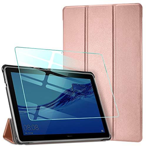 AROYI Funda para Huawei MediaPad T5 10 + Protector Pantalla, Carcasa Silicona Smart Cover Case con Soporte Función para Huawei MediaPad T5 10 10,1 2018 - Oro Rosa