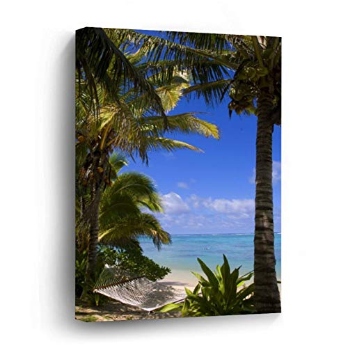 Palm Lined Beach Cook Islands Canvas Picture Painting Artwork Wall Art Poto Framed Canvas Prints for Bedroom Living Room Home Decoration, Ready to Hanging 16'x24'