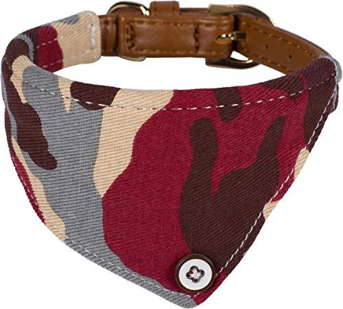 Puccybell Camouflage hondenhalsband met bandana doek, klassieke halsband voor kleine en middelgrote honden HB007, Größe M: 31-38cm, Rood-bruin-blauw-beige