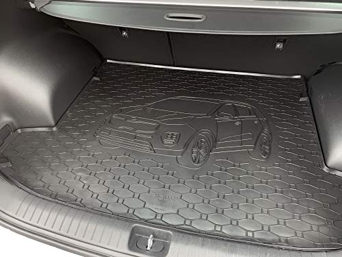 Passgenau Kofferraumwanne geeignet für KIA Sportage ab 2016 ideal angepasst schwarz Kofferraummatte + Gurtschoner