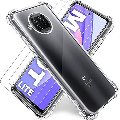 "Funda para Xiaomi MI 10T Lite 5G Transparente,Carcasa MI 10T Lite 6.67""+2Pack Cristal Templado y Protector de Pantalla,Silicona TPU Airbag Anti-Choque Ultra-Delgado Case,No Aplica Xiaomi MI 10T"