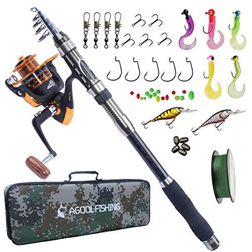 AGOOL Telescopic Fishing Rod and Reel Combo