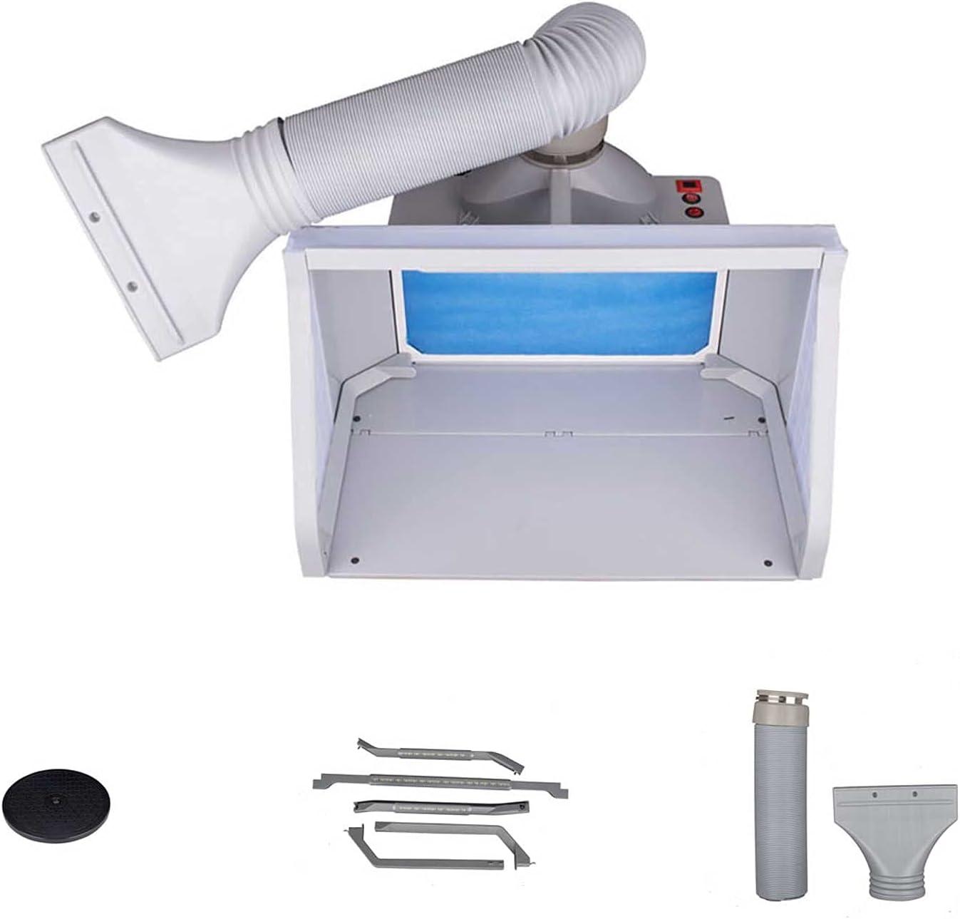 QWERTOUR Airbrush Spray Pinte Booth Kit Spray Extractor Conjunto Filtro de Escape LED Luz Interruptor Ajustable Kit de Pintura para Model Craft 100-240V