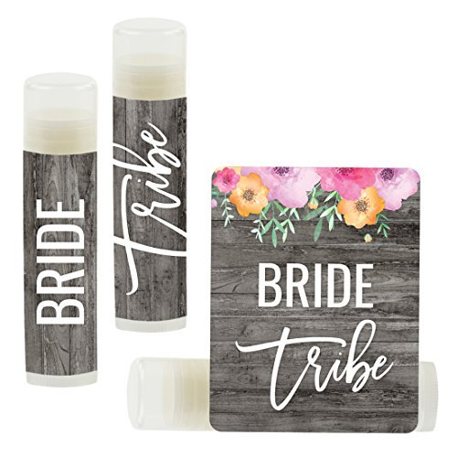 Andaz Press Bridal Shower Bachelorette Party Lip Balm Party Favors, Florals on Gray Rustic Wood, Bride Tribe, 12-Pack