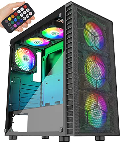 MUSETEX Mesh ATX Mid-Tower Case 6 ARGB Fans Pre-Installed USB 3.0 with Voice Remote Control & Tempered Glass Panels, Decent Cable Management/Airflow Gaming PC Case Computer Chassis(G05MN6-HW)