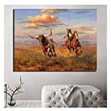 AZTeam Wilde Pferde Western Cowboy Leinwand Poster Drucke