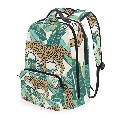 hangong Tropical Leopard Animal Green Banana Palm,School Backpack with Removable Pencil Case, 2 in 1 Travel Daypack Fits 15 Inch Laptop for Girls or Boys