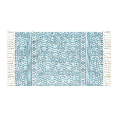 THEE Strick Matte Vorleger aus Baumwolle Strick Teppich Rutschfest Fußläufer Fleckerlteppich für Wohnzimmer Schlafzimmer Diele,M,Blau