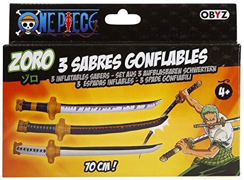 - One Piece- Lot de 3 sabres gonflable de Zoro- Dimensions 70 x 10 x 4cm