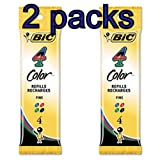 Value Pack of 2 - 8 total Refills for Bic 4-Color Retractable Ballpoint Pen, Fine Point, (BICFRM41)