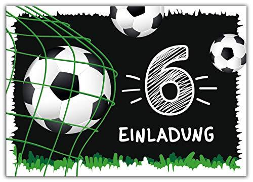 12 Einladungskarten zum 6. Kindergeburtstag sechste Geburtstag Jungen Fussball Fußball
