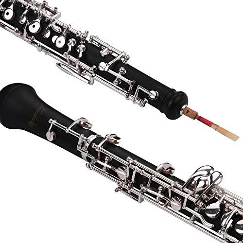 JJmooer Professional Oboe C Key Estilo semiautomático Llaves plateadas Instrumento de viento de madera con guantes Oboe Reed Funda de cuero Bolsa de transporte Paño de limpieza Mini destornillador