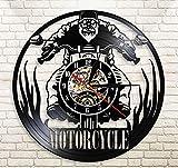 N/A LibjiaMotorcycle Time Touring Motorcyclis Rider Reloj De Pared para Motociclista Racing Vinyl Record Reloj De Pared Regalos para Motociclista