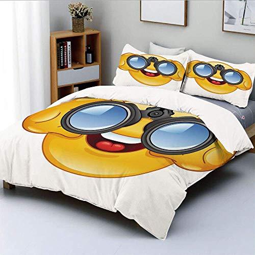 Bettbezug-Set, Smiley-Gesicht mit einem Teleskop Fernglas Brille Beobachten außerhalb Cartoon PrintDecorative 3-teilige Bettwäsche-Set mit 2 Kissen Sham, gelb und blau, Ki