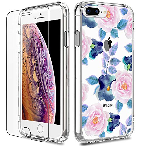 iPhone 7 Plus Case, LUHOURI Clear iPhone 8 Plus Case with Screen Protector, Girls Women Protective Hard Case with Slim Fit Soft TPU Bumper Silicone Cover Phone Case for iPhone 7 Plus, Pink Blue Flower
