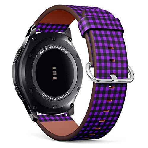 Compatible con Samsung Gear S3 Frontier/Classic – Correa de Reloj de Cuero con pasadores de liberación rápida (Buffalo Tartan Plaid Proton Purple)