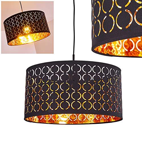 Pendelleuchte Faborg, moderne Hängelampe aus Metall/Stoff in Schwarz/Gold, Ø 40 cm, Höhe max. 140 cm (kürzbar), E27 max. 60 Watt, Hängeleuchte geeignet für LED Leuchtmittel