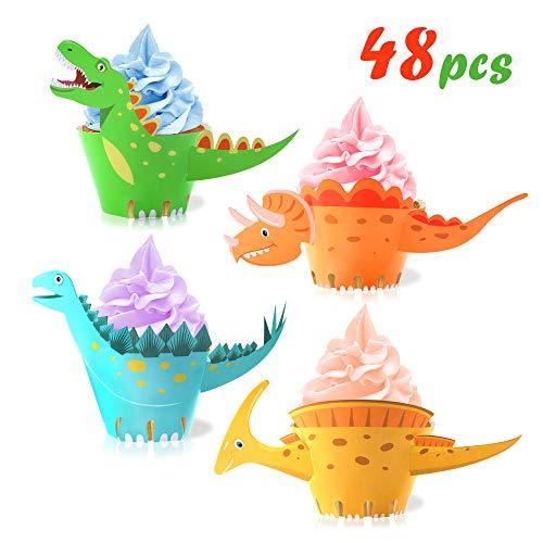 Howaf Dinosaurier Cupcake Wrapper, doppelseitig, Dinosaurier Kuchen Dekoration für Kinder Party Dinosaurier Geburtstag Deko Jungen Mädchen, 48 Stücke