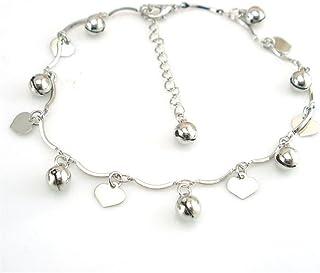 Boowhol - Cavigliera unisex regolabile, con ciondolo a forma di cuore, in argento Sterling 925