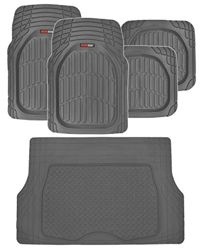 Motor Trend FlexTough Deep Dish Heavy Duty Rubber Floor Mats & Cargo Liner All Weather (Gray) - Complete Coverage Set