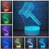 ADIS Lámpara de ilusión 3D Luz de Noche LED Noche Marvel Legend Avengers Superhéroe Thor Martillo Figura Inteligente Óptica 7 Colores Lámpara de Mesa USB Lámpara para Dormir Fresca