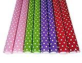 Geschenkpapier Geschenkverpackung Papier Punkte auf Rollen je 2 m x 70cm Geburtstagspapier Dot Style Gepunktet Rosa Rot Lila Grün für Ostern Taufe Hochzeit Xmas Geburtstag (Punkte Groß)