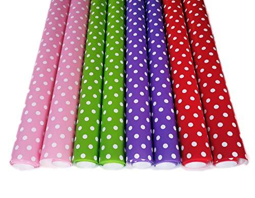 Geschenkpapier Geschenkverpackung Papier Punkte auf Rollen je 2 m x 70cm Geburtstagspapier Dot Style Gepunktet Rosa Rot Lila Grün für Taufe Hochzeit Xmas Geburtstag (Punkte Groß)