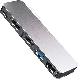 Excuty USB C ハブ 5-in-2 MacBook Pro/Air専用USB Type C ハブ 4K高画質対応 HDMIポート*2 Thunderbolt 3 100W PD出力 USB3.0ポート 高速データ転送 USB C ドッ...