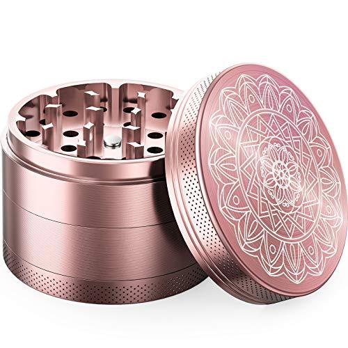 iRainy Molinillo de Hierbas de Aluminio (4 Unidades) Portátil Grinder con Atrapador, Regalo Ideal para Hombres Mujeres (Oro Rosa)