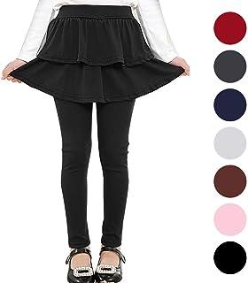 afa464ba43548 Auranso Kids Little Girls Footless Stretchy Leggings with Ruffle Tutu Skirt  Tights Pants 2-10
