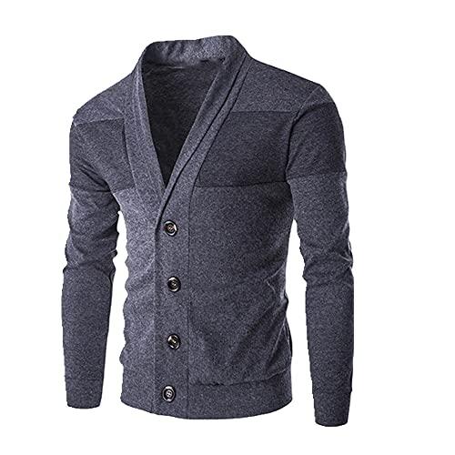 Hombres primavera otoño masculino delgado suéter cardigan suéter muchacho sólido impresión chaqueta abrigo casual