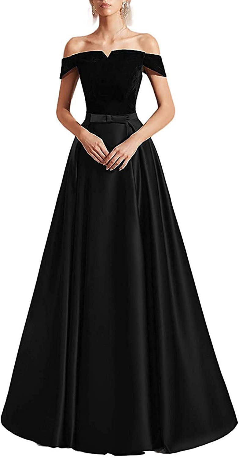 CCBubble Womens Long Satin Velvet Off Shoulder Prom Dresses Aline Formal Evening Party Gown
