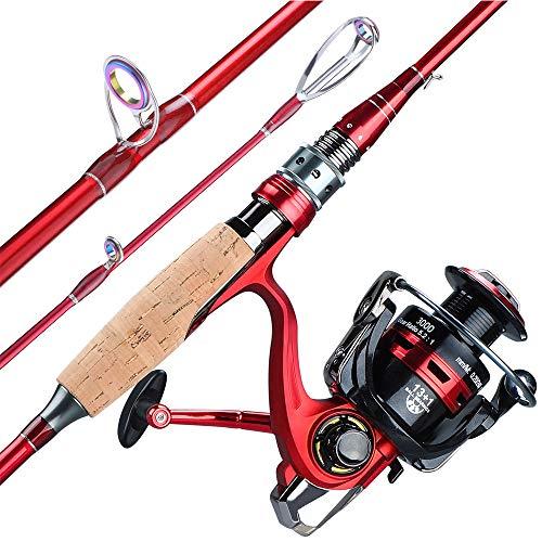 2.1M 2.4M Spining Caña de Pescar Carrete portátil Combo 4 Sección de Fibra de Carbono Polo 13 + 1BB Spining Pesca Juego de Ruedas