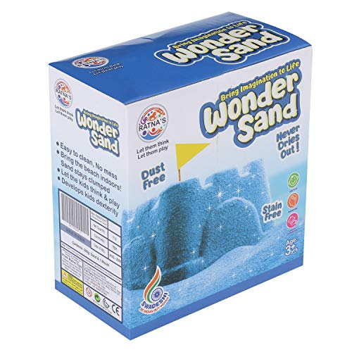 RATNA'S Wonder Sand 500 Grams for Play. Smooth Sand for Kids (Blue 500 Grams), ONE Big Mould Inside (Without Tray) 5