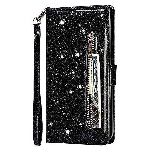 Blllue Funda De La Cartera Compatible Con Samsung A70, Cremallera Glitter PU Cuero Cubierta Del Teléfono Con Cordón Para Galaxy A70 - Negro