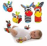 Lumanuby 1 Paar Socken für Baby mit Karikatur Tier Spielzeug Bunt Handgelenk Armband Puppe 1 Paar, Geeignet für Baby 0-6 Monate, Eingebaute Rasseln