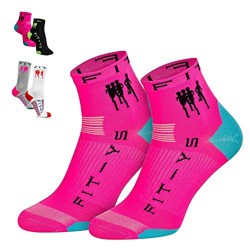 FIT-YS Quarter Socks - Laufsocken für Männer und Frauen 1/4 Länge mit Anti-Blasen Schutz, von Sportlern für Sportler entwickelt / Sportsocken atmungsaktiv & seemless (One Size, Pink / Schwarz / Blau)