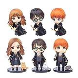 JPYH 6 PCS Harry Potter Mini Figuras - Harry Potter Cake Topper Niños Mini Juguetes Baby Shower Fiesta de cumpleaños Pastel Decoración Suministros